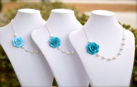 Jessica Asymmetrical Necklace in Blue Shades Rose (Aqua, Turquoise, Dark Teal). FREE EARRINGS