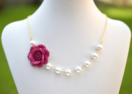Olivia Asymmetrical Necklace in Magenta Pink Rose. FREE EARRINGS