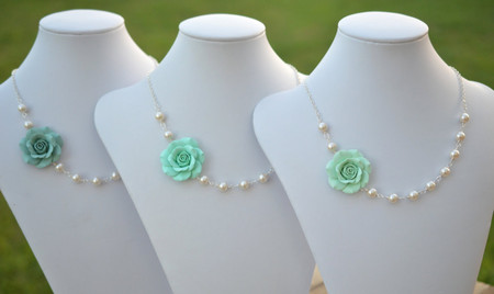 Brea Asymmetrical Necklace in Mint Shades Rose (Light Mint, Mint, Dusty Mint). FREE EARRINGS