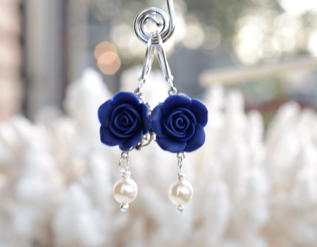 Tamara Statement Earrings in Navy Blue Rose.