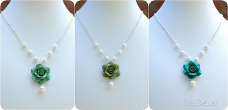 Hannah Centered Necklace in Green Rose with Pearls (Turquoise-Sage-Peacock)