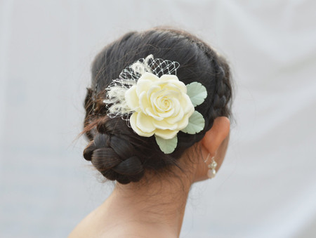 Isabella Hair Clip in Ivory Rose. LARGE