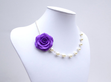 Jessica Asymmetrical Necklace in Amethyst Purple Rose. FREE EARRINGS