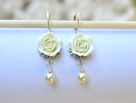 Tamara Statement Earrings in Ivory Rose.