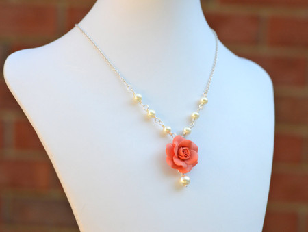 Hannah Centered Necklace in Coral Orange  Rose with Pearls