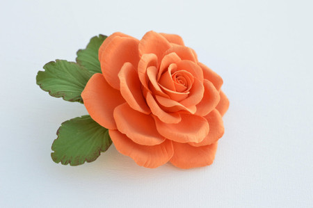 Liberty Hair Clip in Orange Rose. LARGE