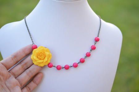 Leah Asymmetrical Necklace in Golden Yellow Rose and Hot Pink Stones. FREE EARRINGS