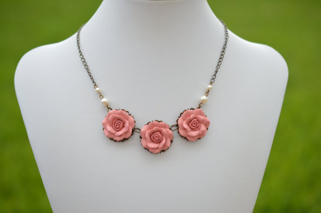 Trio Dusty Pink Statement Necklace