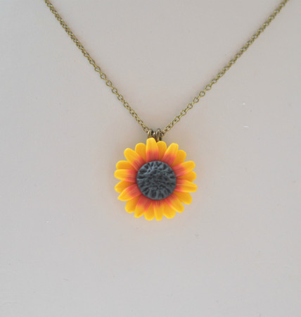 Deep Red- Yellow Sunflower Simple Drop  Necklace