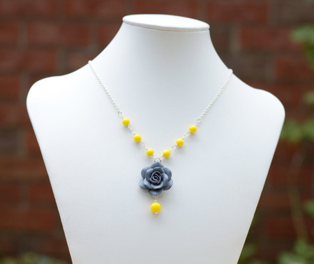 Hannah Centered Necklace in Grey Rose and Yellow Beads