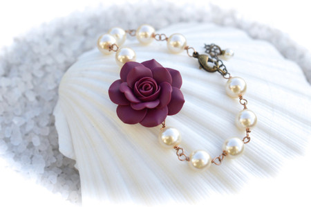 Aaliyah Link Bracelet in Eggplant Rose and Pearls