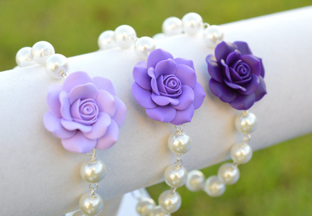 Aaliyah Link Bracelet in Purple Shade Rose with Pearls