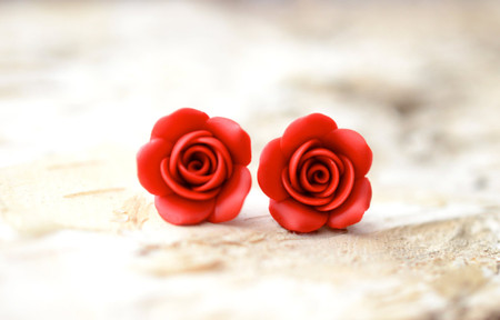 Succulent Red Rose Stud Earrings