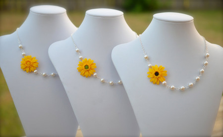 Reyna Asymmetrical Necklace in Golden Yellow Gerbera Daisy. FREE EARRINGS