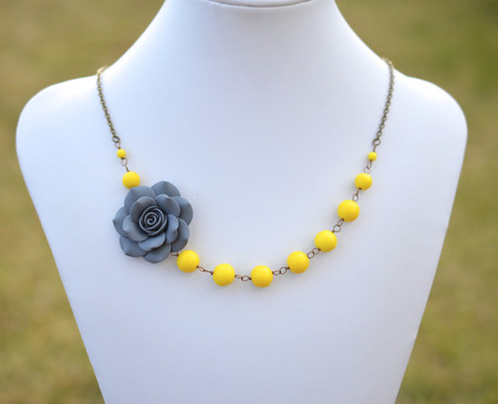 Brooklyn Asymmetrical Necklace in Grey Rose with Yellow Beads. FREE EARRINGS