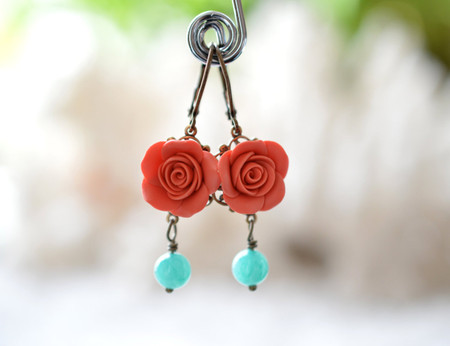 Tamara Statement Earrings in Coral orange Rose and Blue Stones