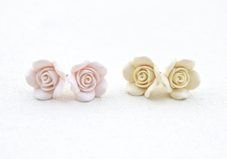 Ivory or White Rose Stud Earrings