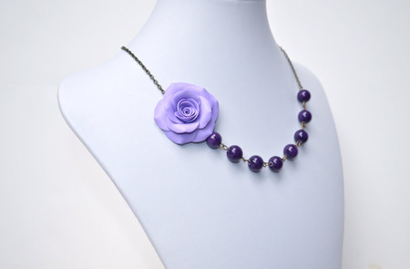 Brooklyn Asymmetrical Necklace in Lavender Rose with Purple Jade. FREE EARRINGS