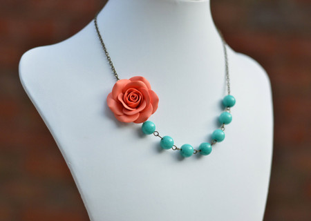 Brooklyn Asymmetrical Necklace in Coral Orange Rose with Turquoise Blue Beads. FREE EARRINGS