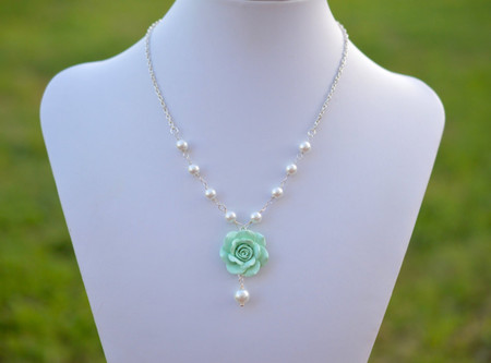 Hannah Centered Necklace in Mint Green Shade Rose with Pearls