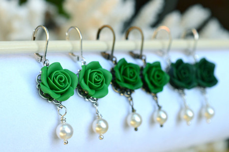 Tamara Statement Earrings in Emerald Green, Evergreen, Dark Teal Rose .