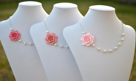 Jessica Asymmetrical Necklace in Pink Rose. (Pastel Blush, Dusty Pink, Strawberry). FREE EARRINGS