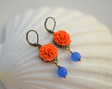 Richelle Statement Earrings in Orange Carnation and Royal Blue Jade