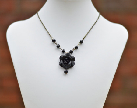 Hannah Centered Necklace in Black Rose Rose with Black Beads