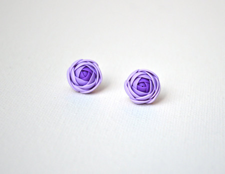 Purple Ranunculus Stud Earrings