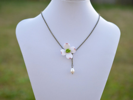 Helena Drop Necklace in White Dogwood with  Pearl