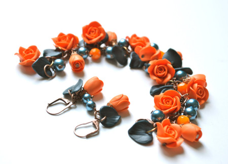 Lucinda Garden Bracelet and Earrings in Orange and Teal blue. Set of 2
