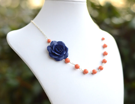 Alysson Asymmetrical Necklace in Coral or Navy Blue Rose. FREE EARRINGS