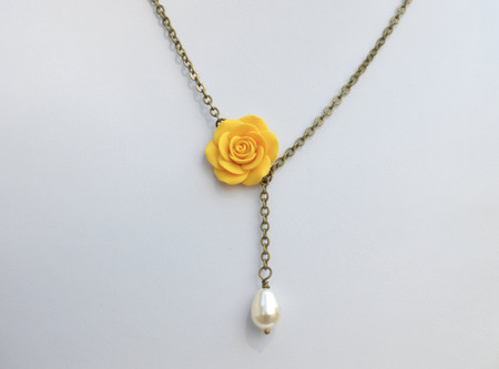 Alexa Drop Necklace in Golden Yellow Rose with Pearl