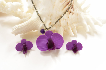 Purple Phalaenopsis Jewelry Set. Set of 2