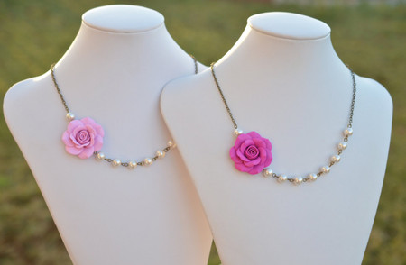 Jessica Asymmetrical Necklace in Pink Rose (Fuchsia, Bubblegum). FREE EARRINGS