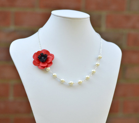 Leah Asymmetrical Necklace in Red Poppy/Anemone. FREE EARRINGS