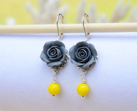 Tamara Statement Earrings in Grey Rose and Yellow Beads