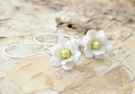 White Southern Magnolia Simple Dangle  Earrings