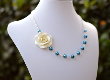 Alysson Asymmetrical Necklace in Cream/Ivory Rose with Teal Blue Pearls. FREE EARRINGS