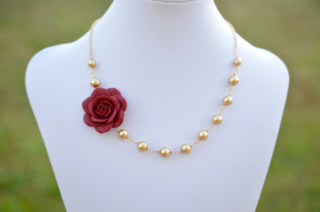 Bella Asymmetrical Necklace in Red Garnet Rose with Gold Pearls. FREE EARRINGS