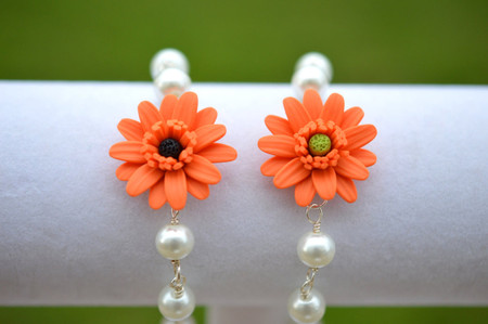 Andrea Link Bracelet in Orange Gerbera Daisy and Pearls