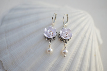 Tamara Statement Earrings in White Gardenia Bud .