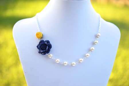 Jayden Double Flowers Asymmetrical Necklace in Yellow Ranunculus and Navy Blue Rose. FREE EARRINGS