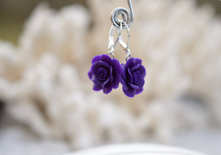Deep Purple Rose Simple Dangle Earrings