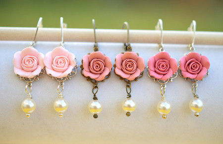 Tamara Statement Earrings in Pink Blush Rose