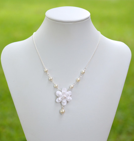 Lexie Centered Necklace in White Gardenia with Pearls