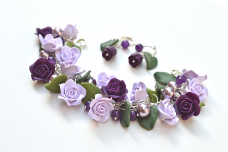 Lucinda Garden Bracelet and Earrings in Purple Hues. Set of 2