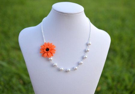 Leah Asymmetrical Necklace in Orange-Black Center Gerbera Daisy. FREE EARRINGS.