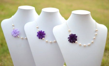 Reyna Asymmetrical Necklace in Purple Shade Dahlia and Pearls . Free Earrings.
