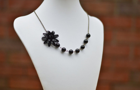 Brooklyn Asymmetrical Necklace in Black Dahlia and Black Glass Beads. FREE EARRINGS